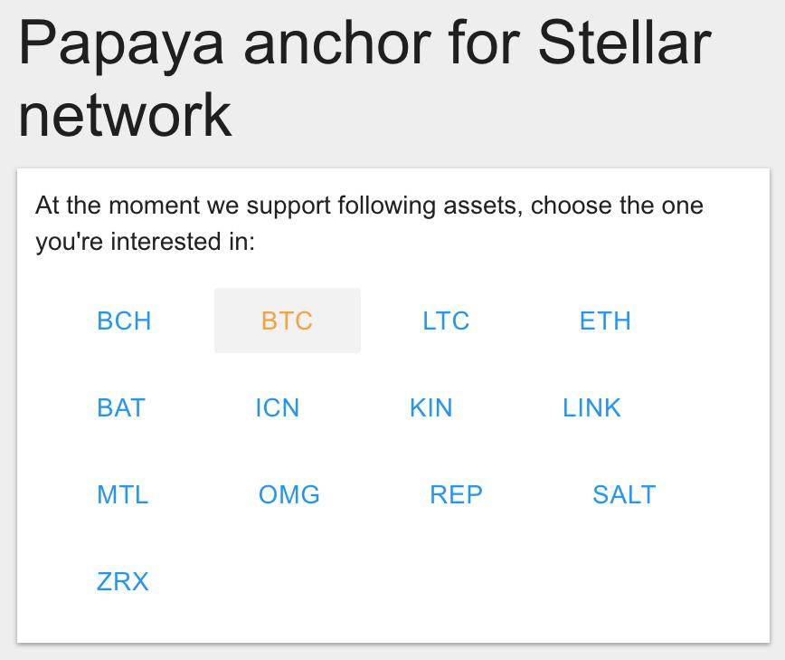 Select Bitcoin on Papaya