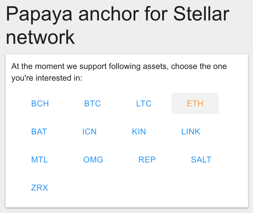 Select Ethereum on Papaya