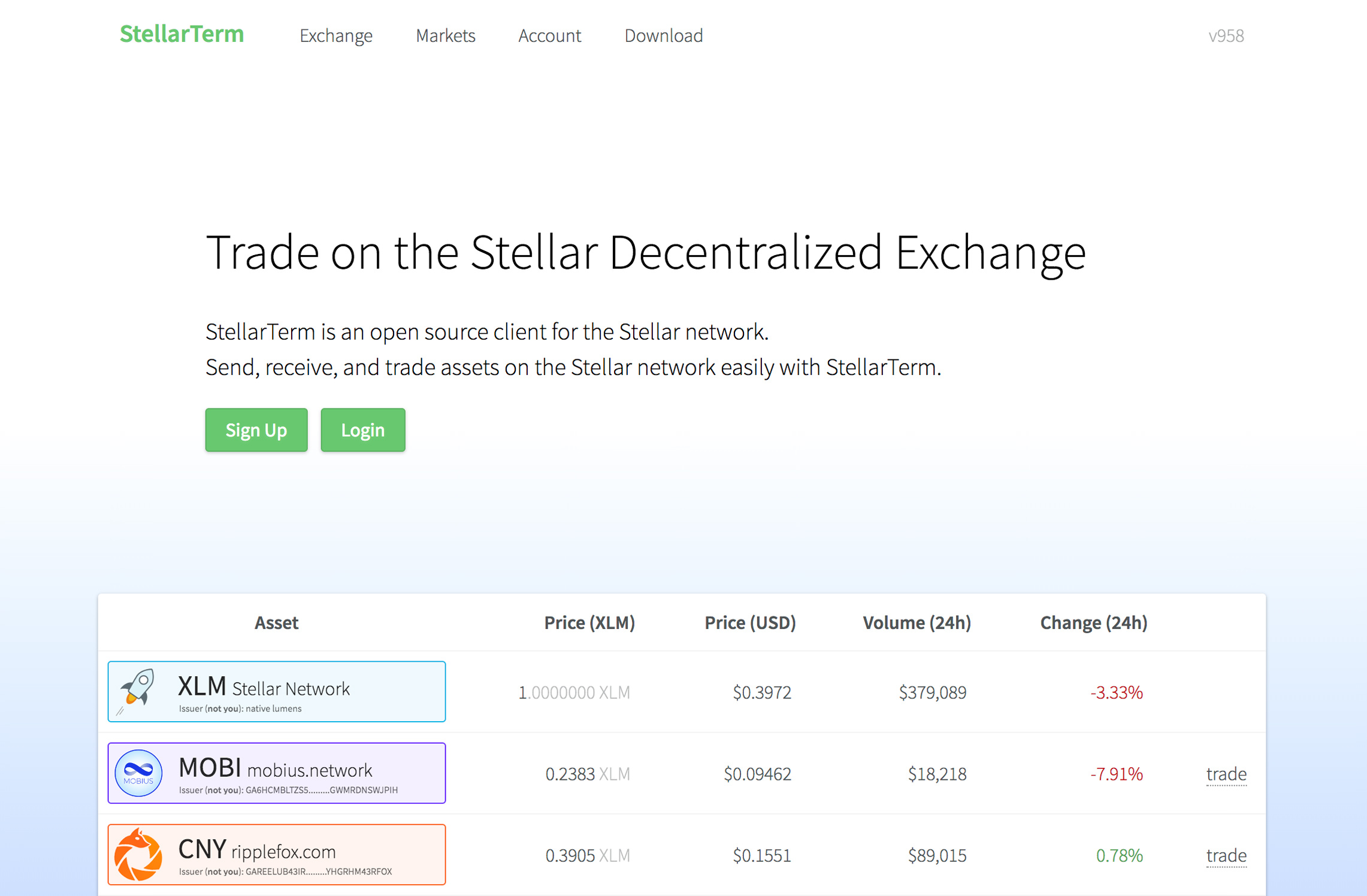 stellarterm stellar decentralized exchange user interface