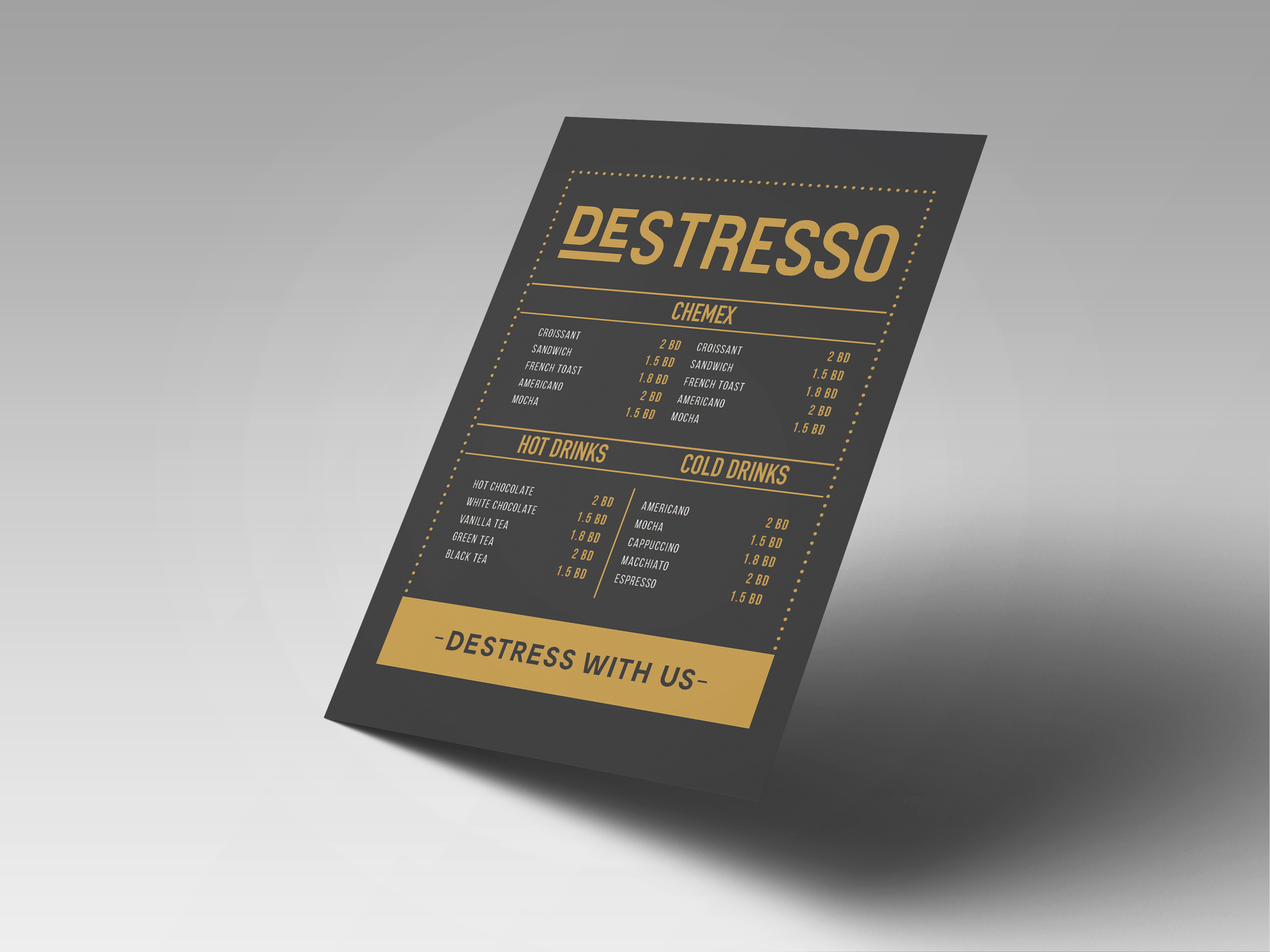 Destrsso cafe Menu design