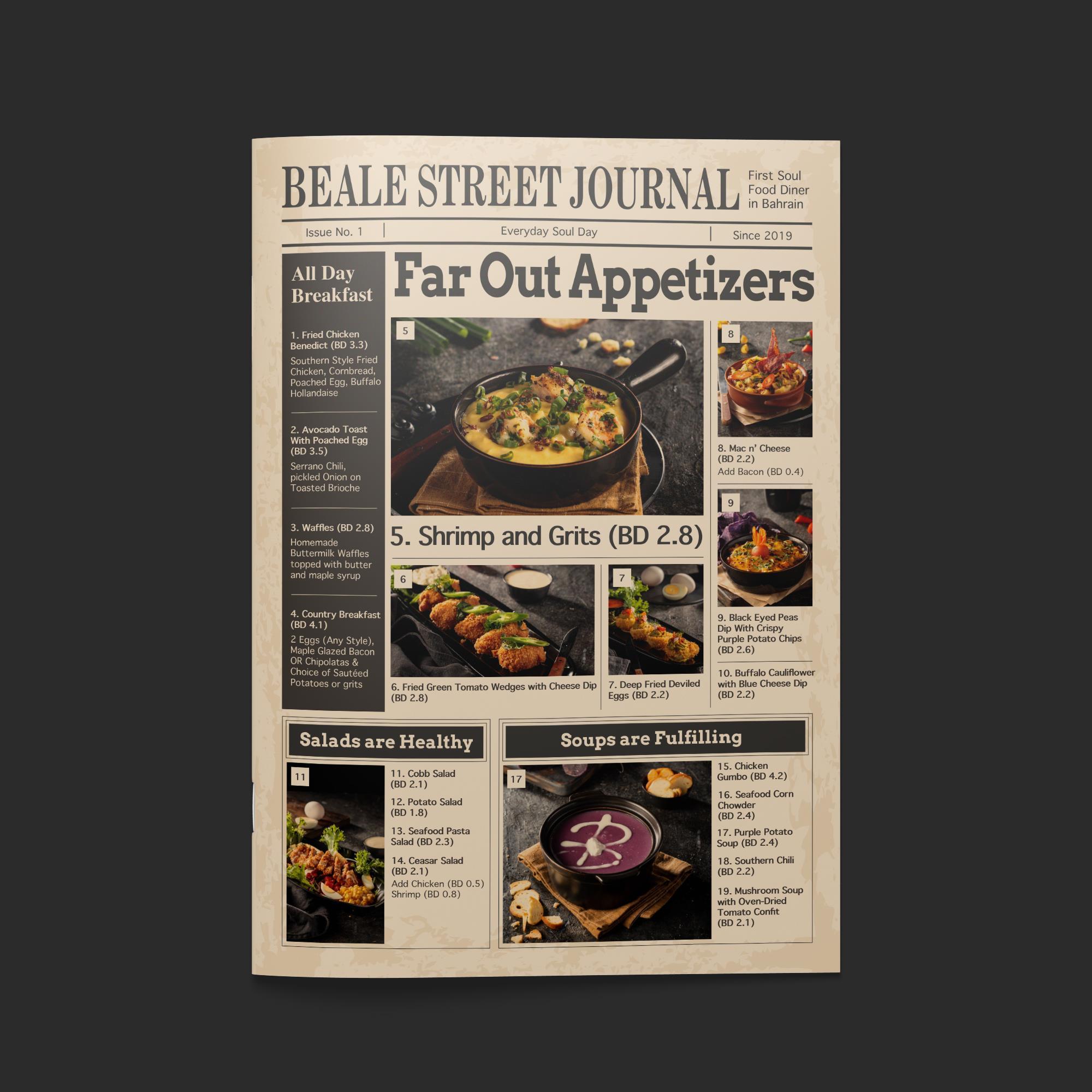 Beale Street menu design cover