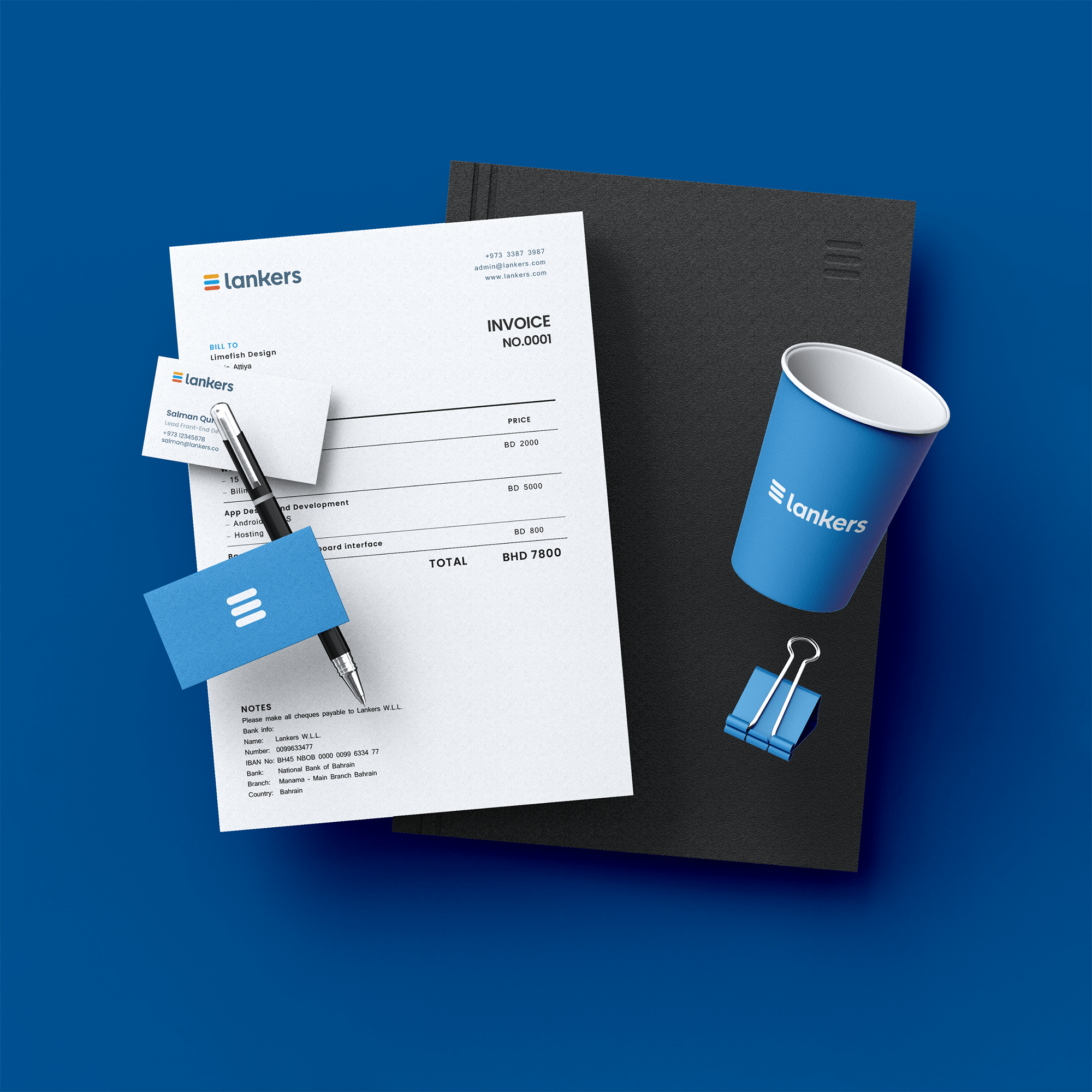 Stationery Design, Business cards, Envelopes, invoice, quotation, letterheads, cup design