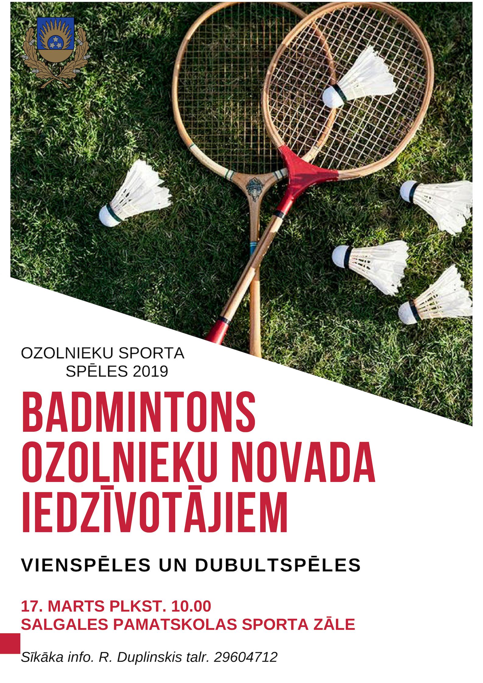 Badmintons Ozolnieku novada iedzīvotājiem