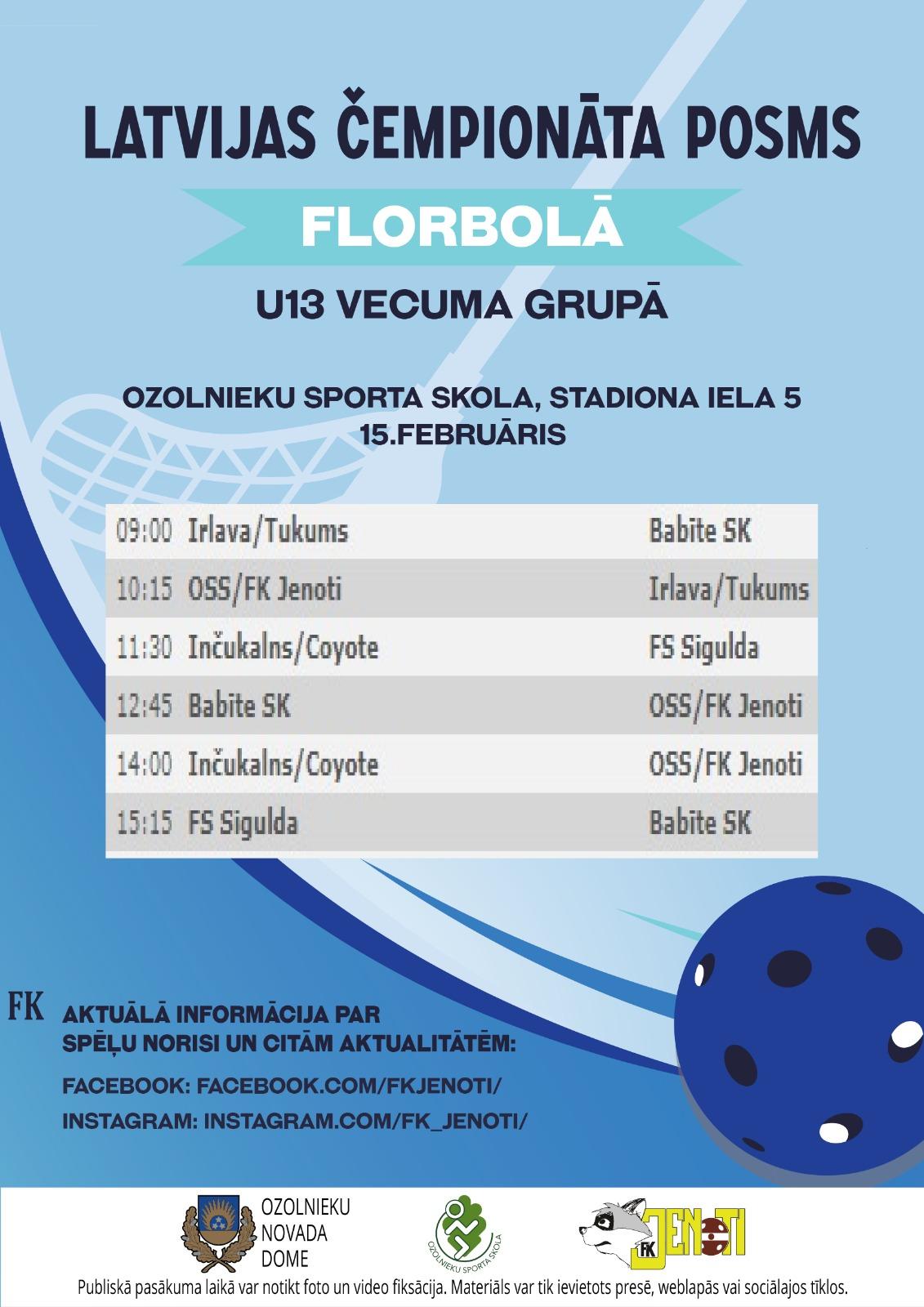 Latvijas 26. čempionāta florbola U13 grupas spēles Ozolniekos