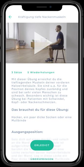 Übungsansicht in der Mineo App