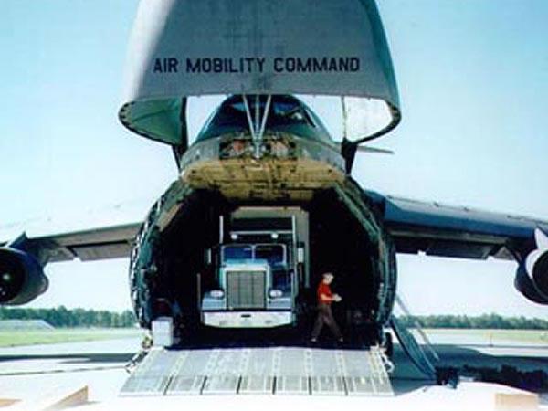 Semi truck in airplane