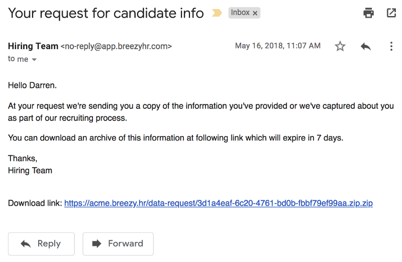 breezy candidate data requests
