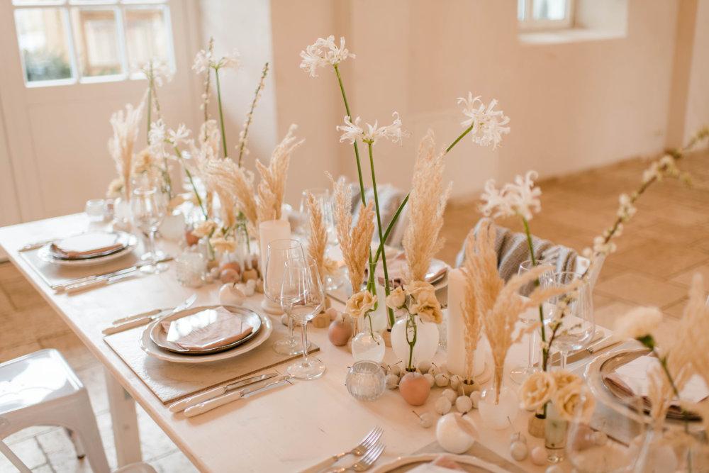 Hochzeitstafel im Stil White Marble