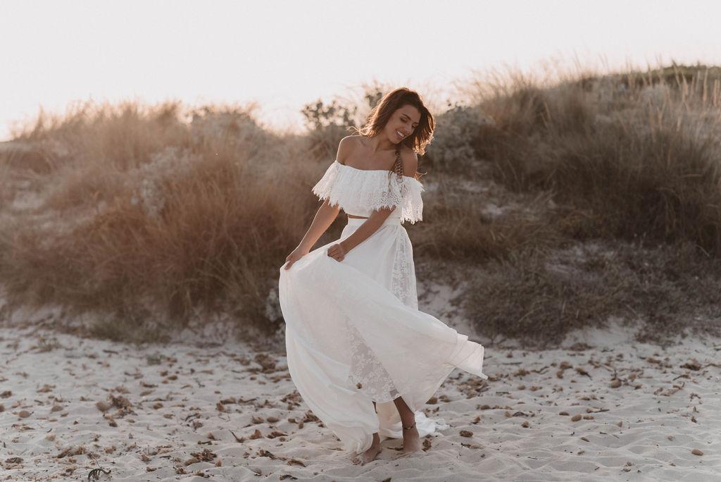 Boho-Braut am Strand