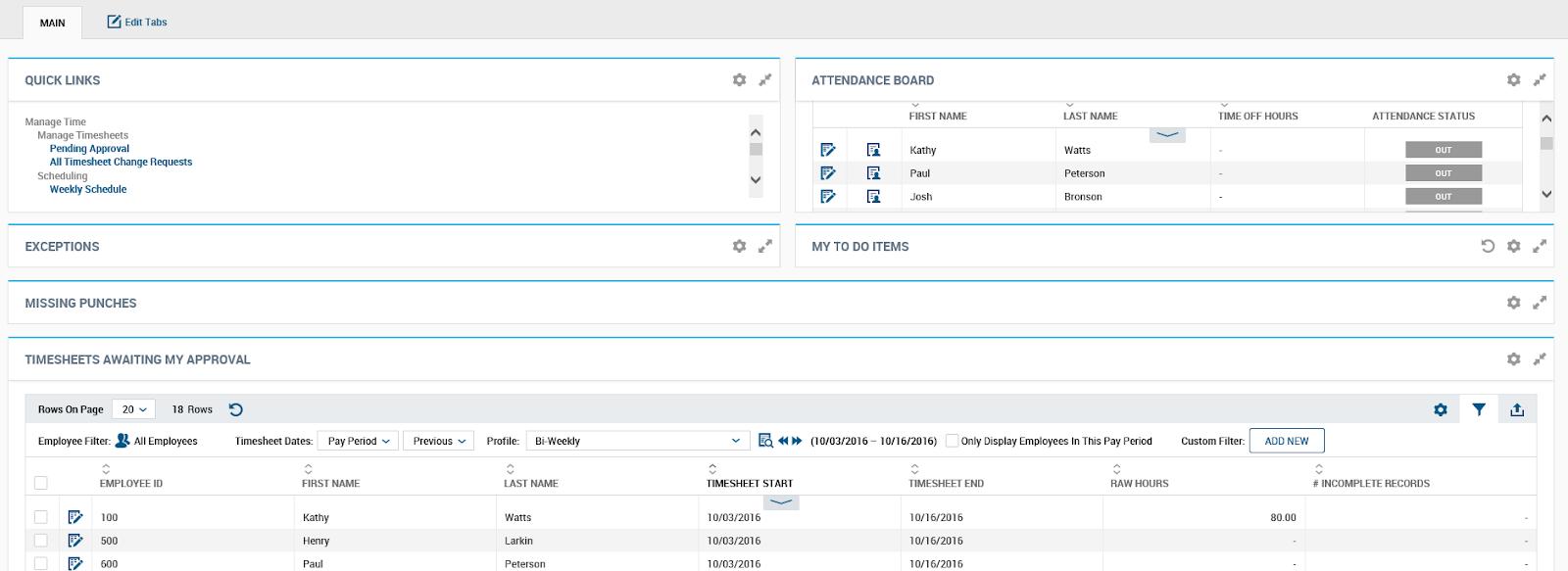 Kronos Workforce Ready Manager Dashboard Screenshot