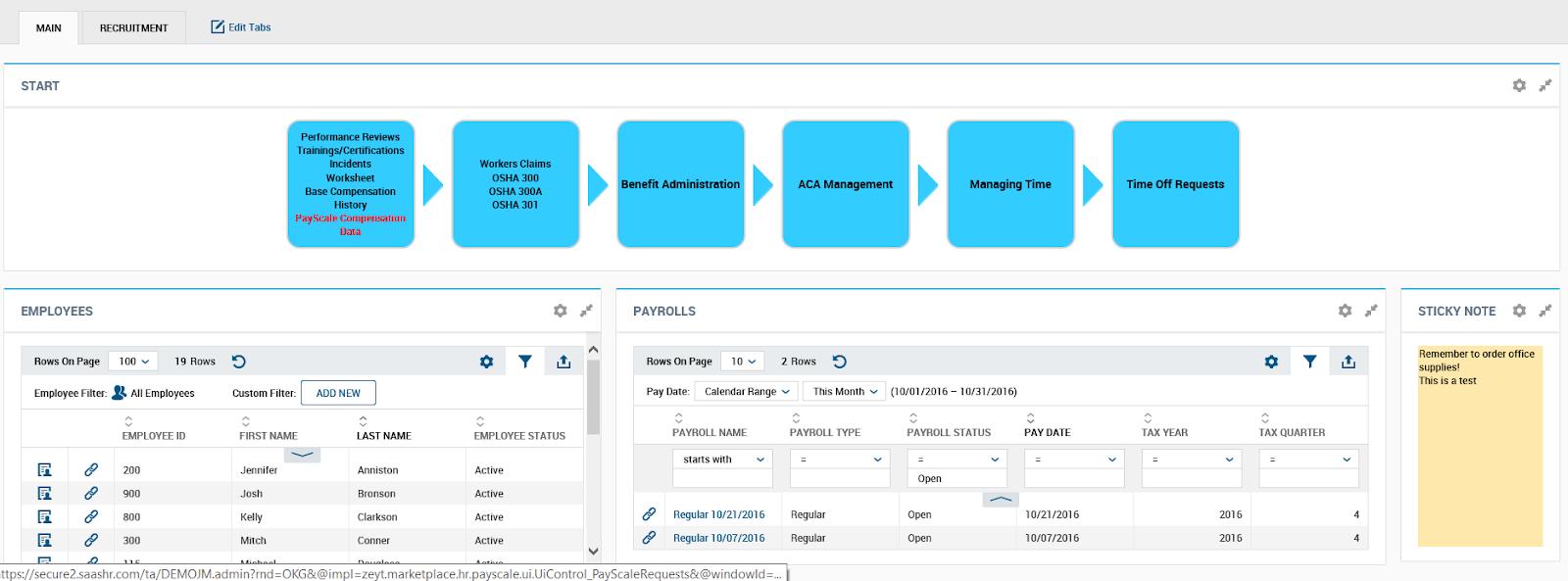 Kronos Workforce Ready Administrator Dashboard Screenshot