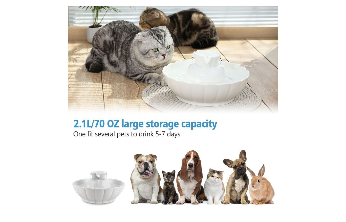 iPettie Ceramic Pet Drinking Fountain