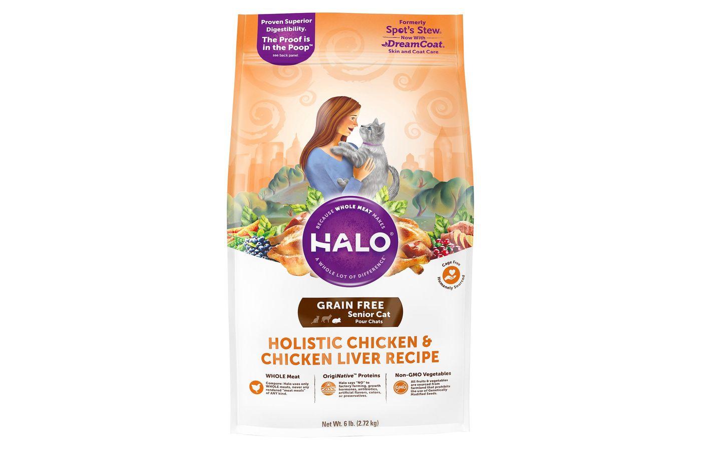 Halo Holistic Grain-Free Chicken and Chicken Liver Recipe for Senior Cats