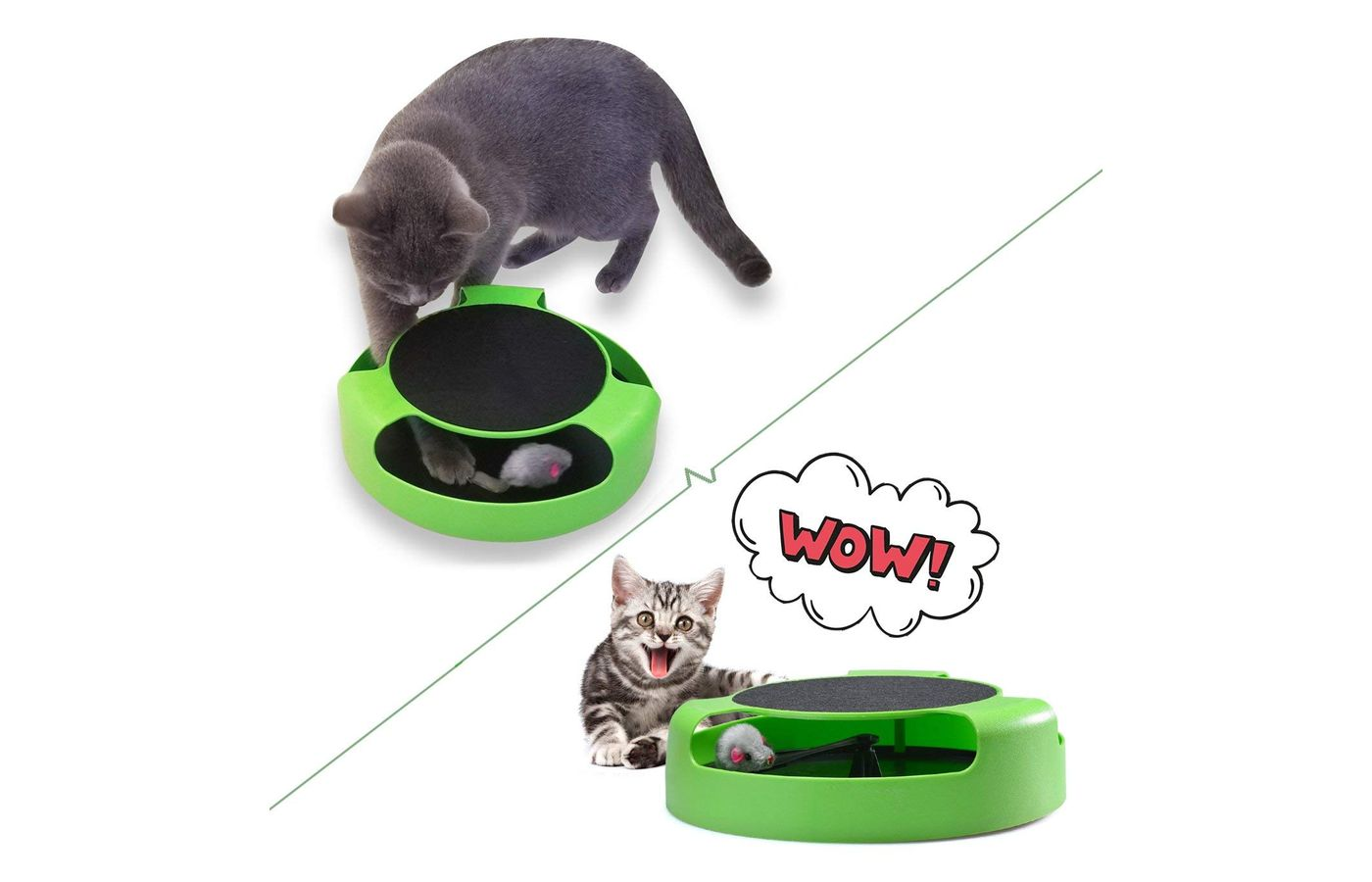 Fynigo Cat Interactive Toys with Running Mice and a Scratching Post