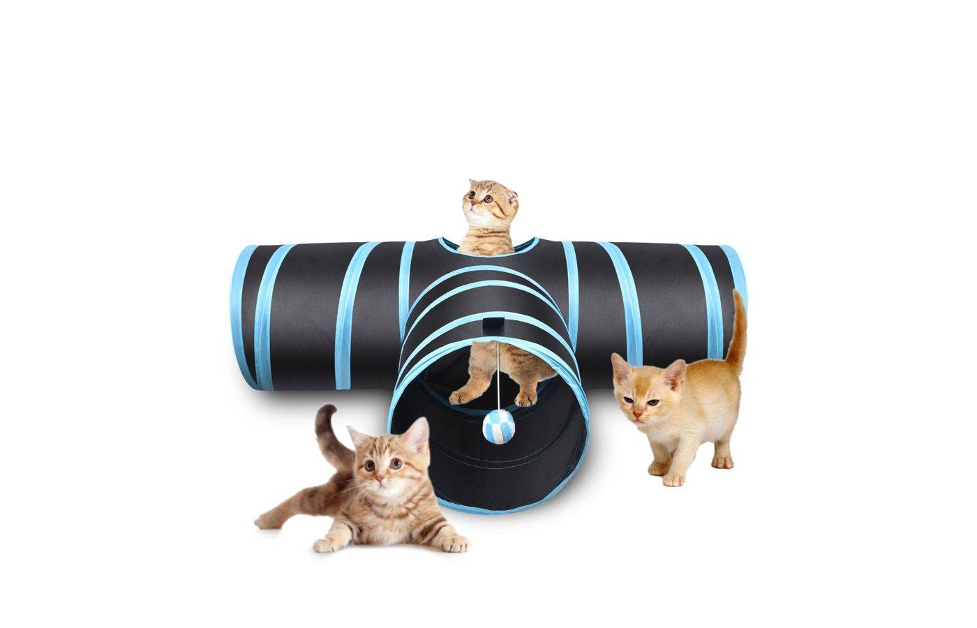 Creaker 3 Way Cat Tunnel, Collapsible Pet Toy Tunnel with Ball for Cat
