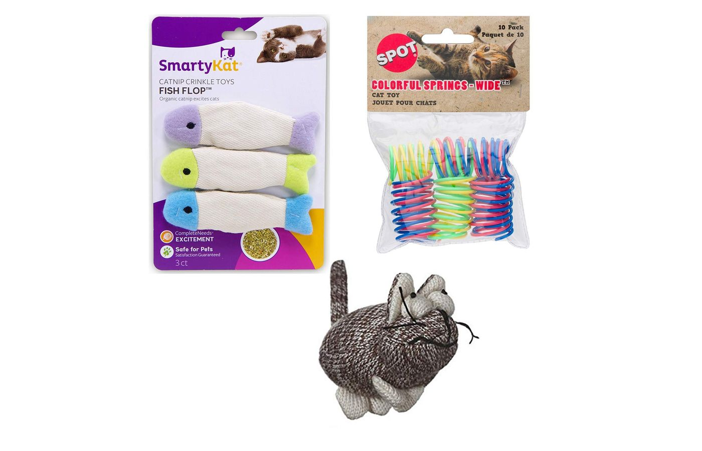 Multi Twice Booked New Kitten or Cat Welcome Catnip and Play Springs Toy Bundle