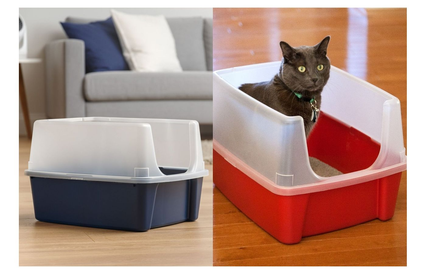 IRIS Open Top Litter Box with Shield