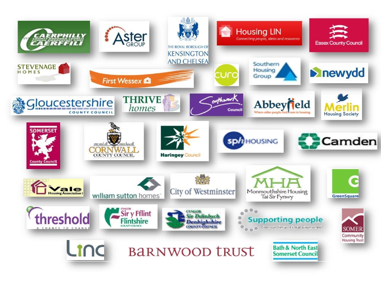 Various logos that Ridgeway has worked with