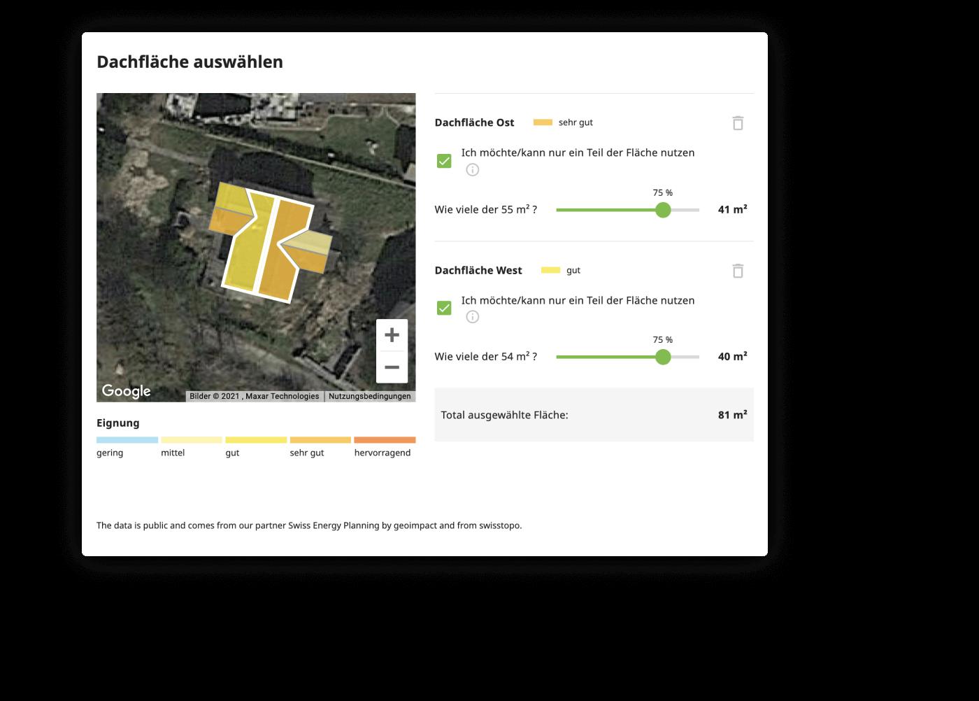 Solarrechner – Dachneigung und Dachausrichtung