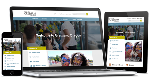 Mockup of City of Gresham (Oregon) site on multiple devices
