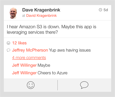 Screen Grab from AWS app on AWS Outage