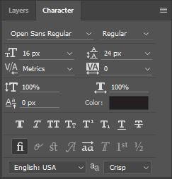 Screen grab: Character menu/font styles