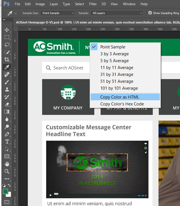 Screen grab: Sampling colors in PS