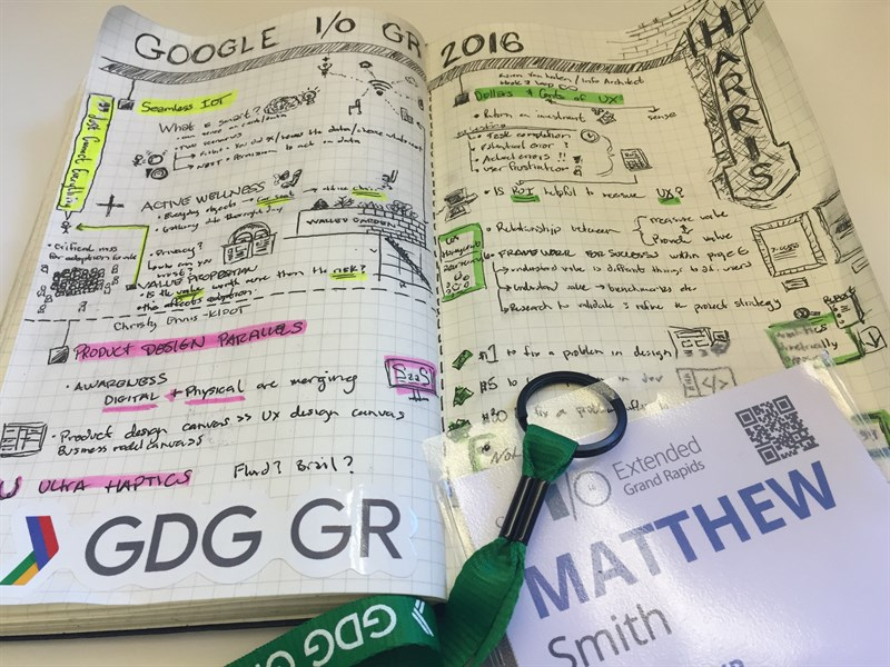 UX Designer Matt Smith's sketched notes from Google's 2016 I/O Conference