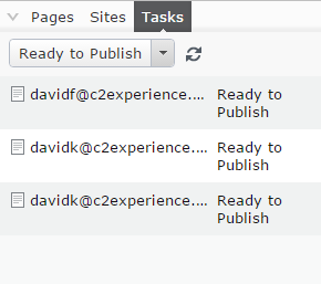 Screen grab: tasks ready to publish