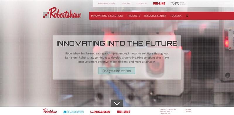 Screen grab of Robertshaw Controls Website Homepage