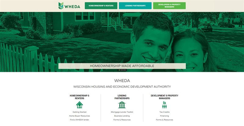 Screen grab of Wisconsin Housing and Econominc Development Authority (WHEDA) website homepage