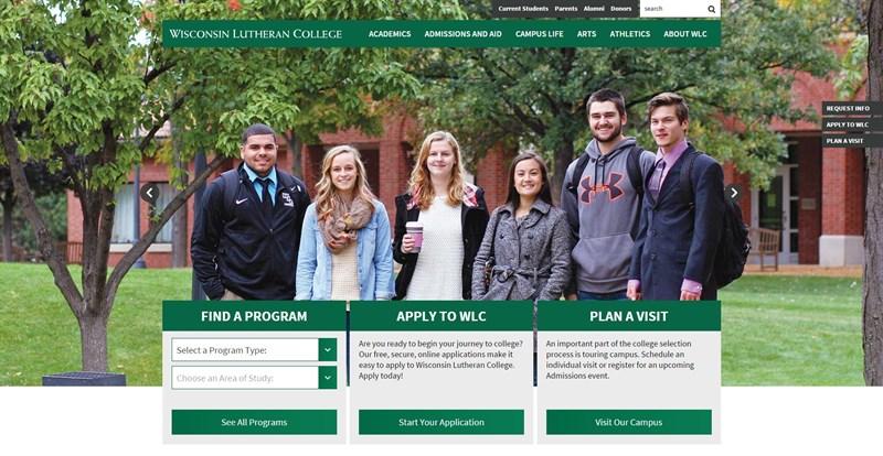 Screen grab of Wisonsin Lutheran College website homepage