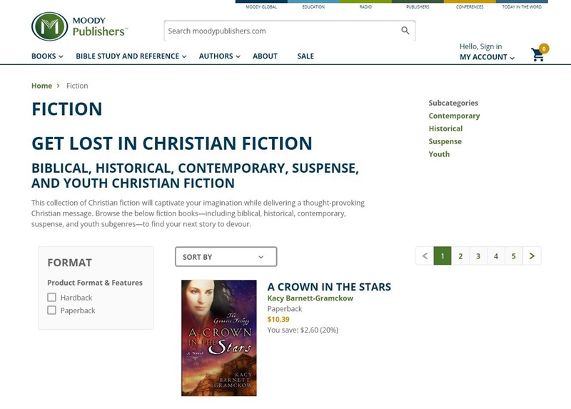 Screen grab: Moody Publishers website (Fictional category)