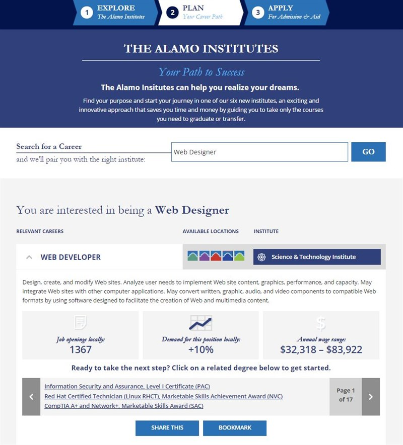 Screen grab: The Alamo Institutes Pathfinder Tool
