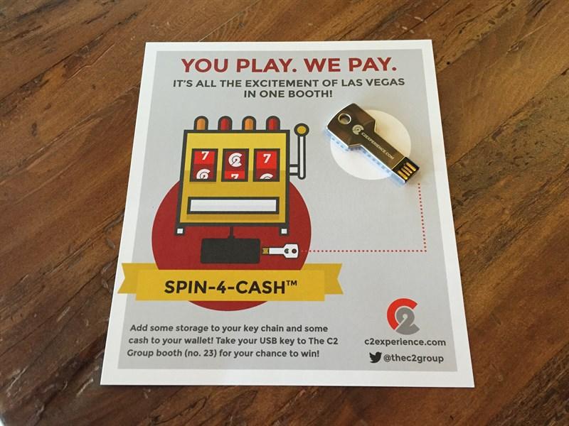 C2's handout for Spin-4-Cash slot machine at Ascend