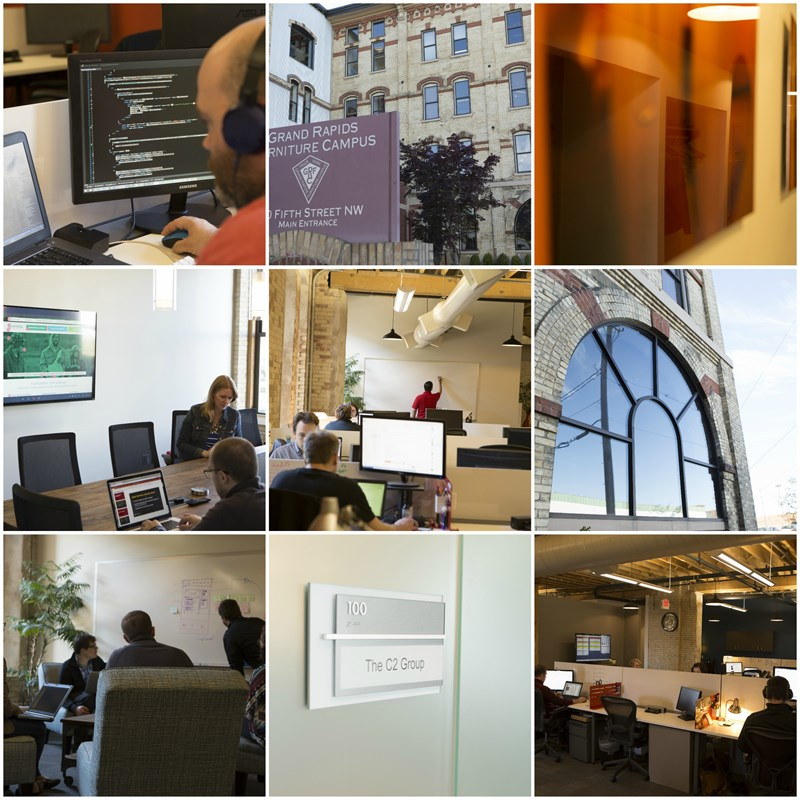 Collage of C2's new office space