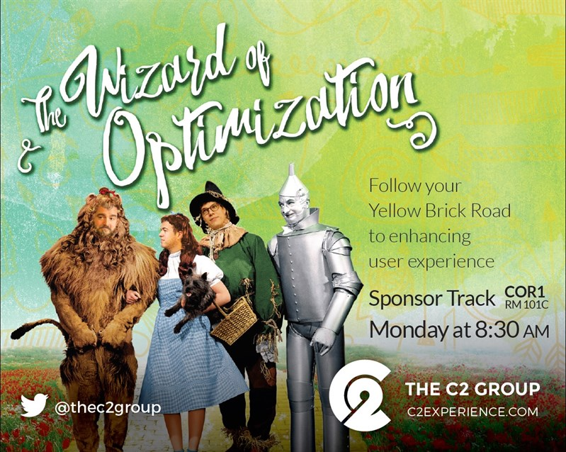 The C2 Group's HighEdWeb Presentation Flyer: The Wizard of Optimization