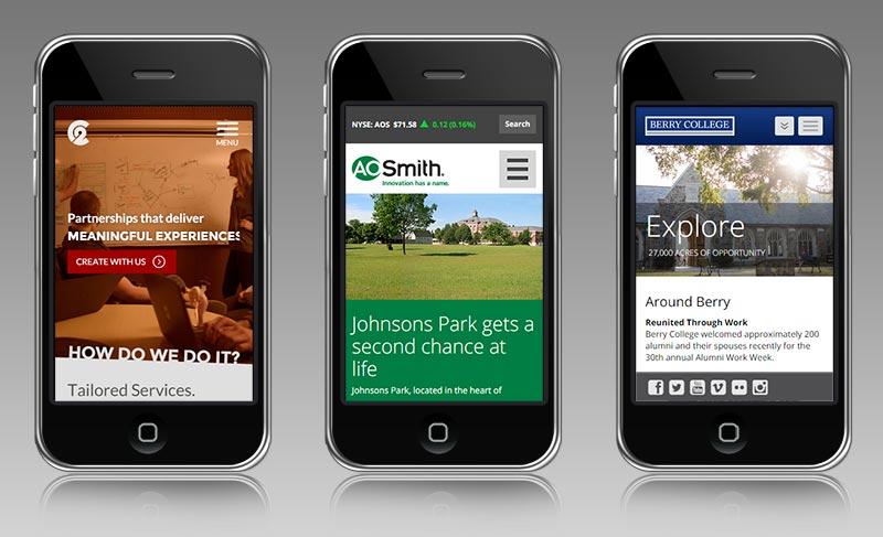 Multiple sites on iphone mock-ups showing mobile optimization