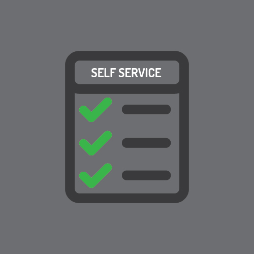 "Vector image of checklist with ""Self Service"" as the header"