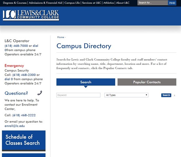Screen grab: Lewis and Clark website Campus Directory