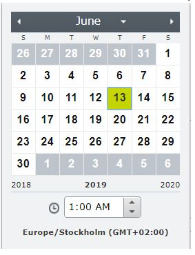 Screengrab from Episerver CMS UI of new Date Picker Enhancements