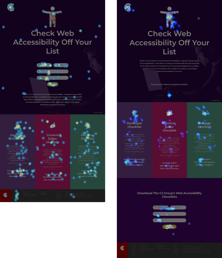 Heatmap user testing of two different variants of the same landing page.