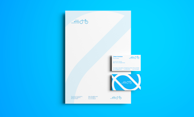 israel bicycle  A4&Business card mockup
