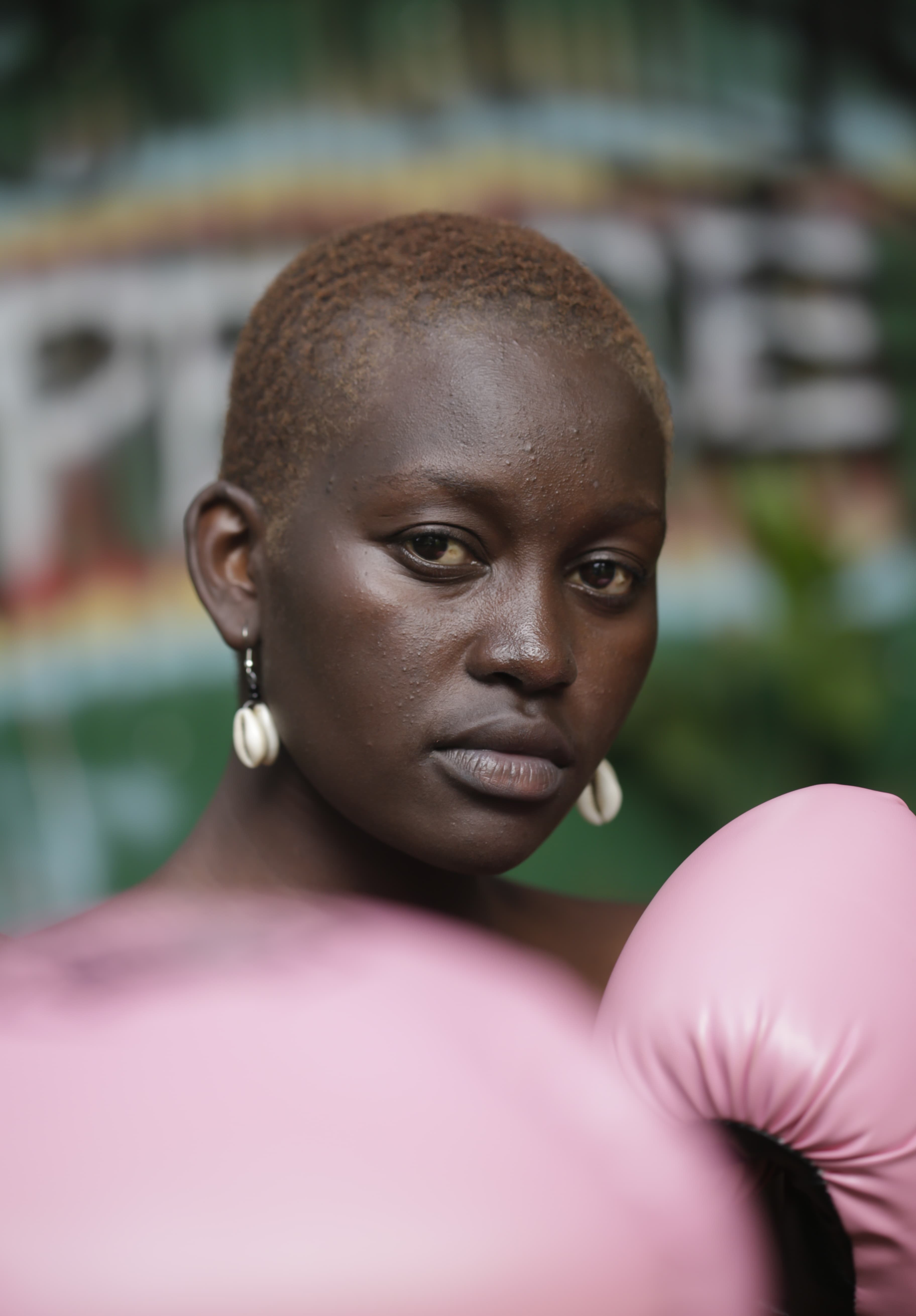 Powerful woman with boxing gloves