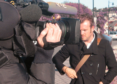 Essential Ireland's chief guide Stephen McPhilemy in 2006 being interviewed on national television