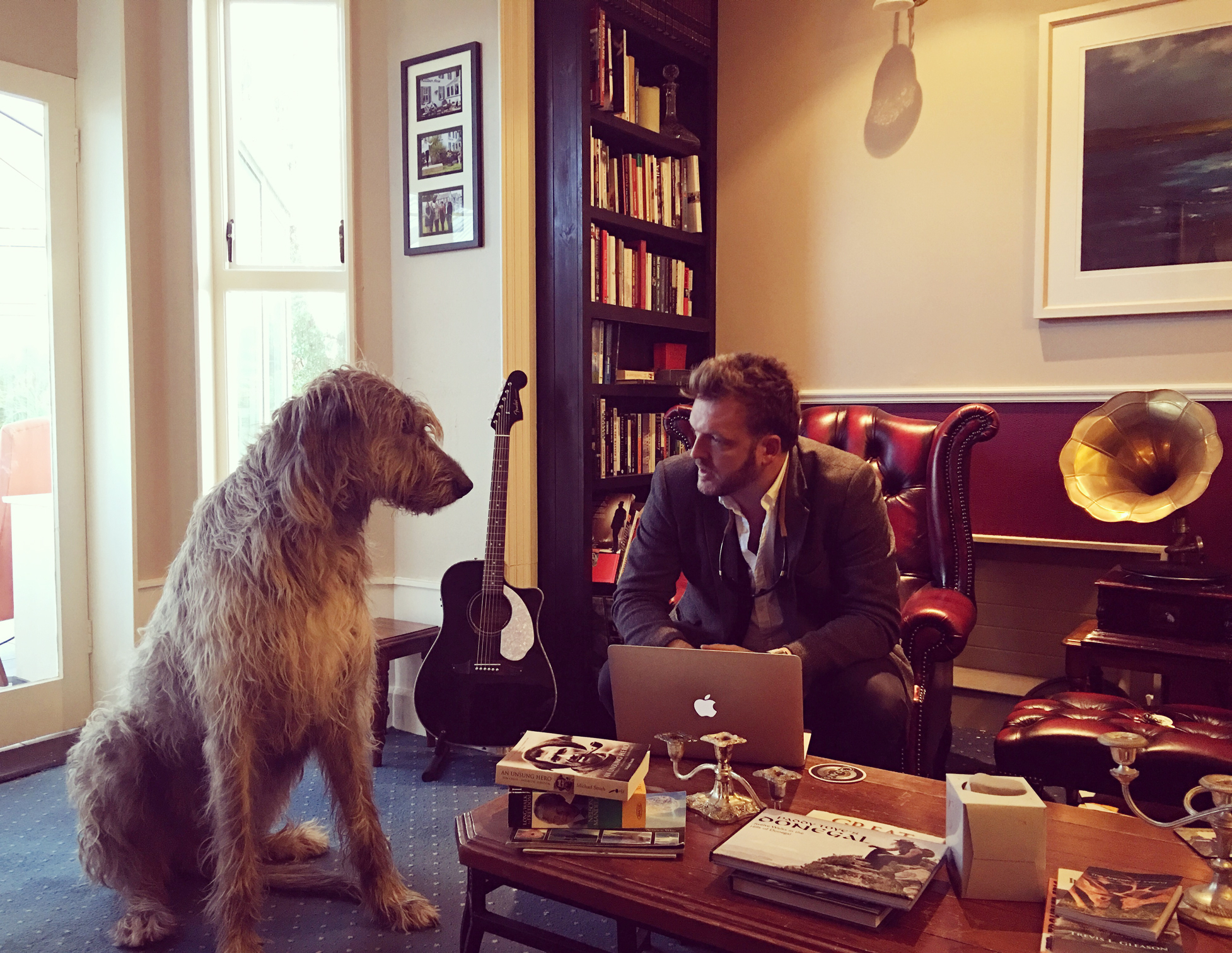 Chief guide Stephen McPhilemy and Seamus the Wolfhound in the library bar at Milltown House in Dingle