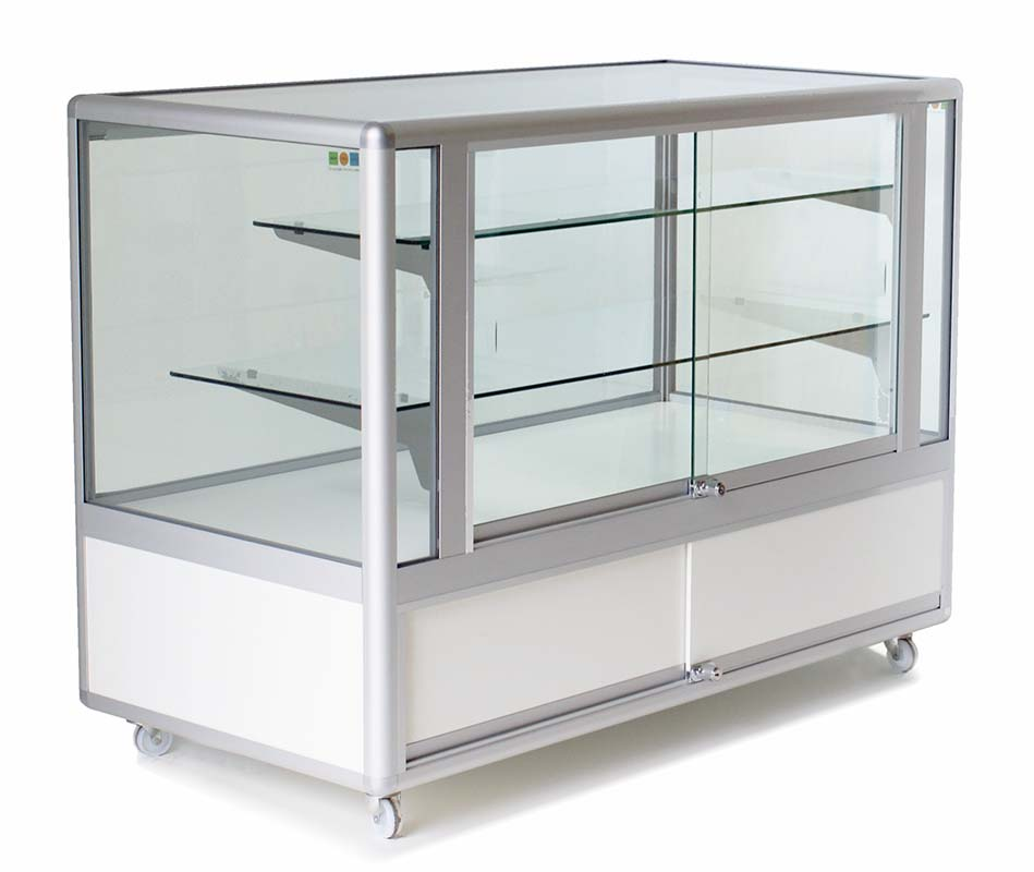 Three-quarter glass display cabinet