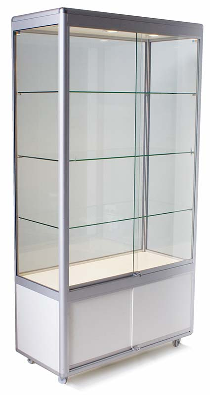 Rectangular upright display cabinet