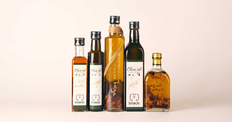Old bottles of the olive oil
