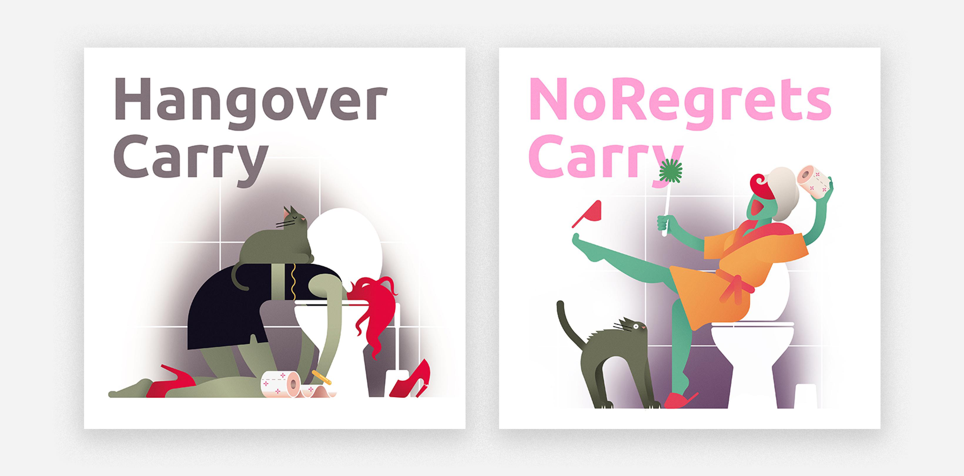illustration hangover and no regrets